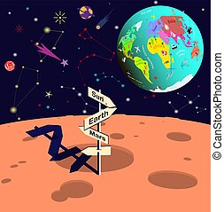 View of planet Earth from the moon. Space in cartoon style. Vector illustration.