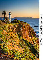 View of Point Vicente Lighthouse at sunset, in Ranchos Palos Ver