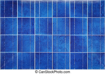 View of polycrystalline photovoltaic cells in a solar panel
