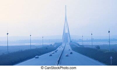 Pont de Normandie - view of Pont de Normandie at the foggy...