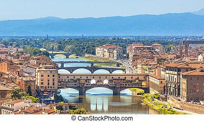 View of Ponte Vecchio Bridge over the river Arno in Florence