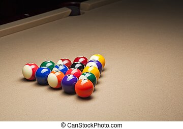 view of pool balls on pool table