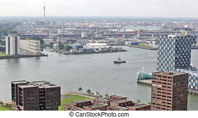 View of port in Rotterdam, the biggest port in Europe