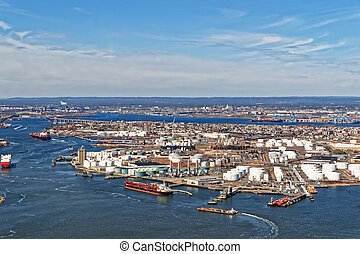 View of Port Newark and the MAERSK shipping containers in...