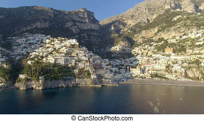View of Positano village along Amalfi Coast in Italy.