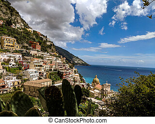 View of Positano village on a cloudy day.