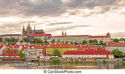 View of Prague Castle from the river Vltava.Czech...