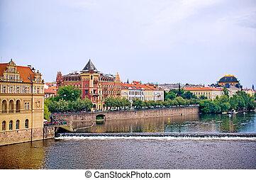 view of Prague from Charles bridge