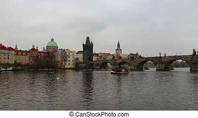View of Prague from the Vltava River, Czech Republic