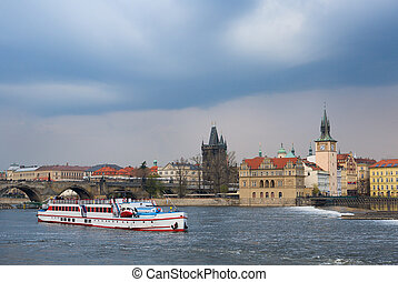 View of Prague with the Vltava and Charles bridge