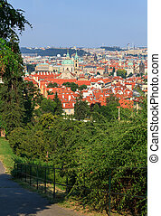 View of Prague with tile roofs
