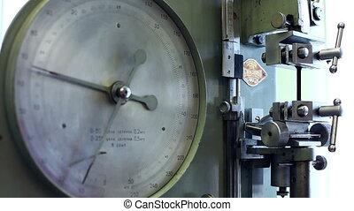 View of pressure indicator at machine