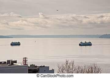 Puget Sound - View of Puget Sound and ferries
