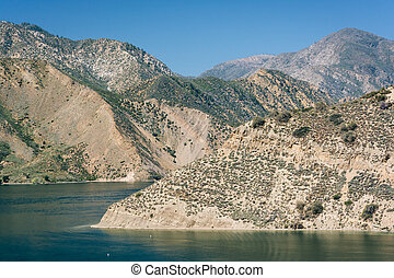 View of Pyramid Lake, in Angeles National Forest, California.