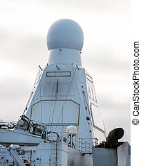 View of radar on naval ship.