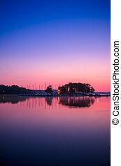 View of Ramsey Lake, Ontario, Canada during sunrise