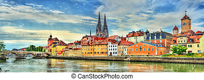 View of Regensburg with the Danube River in Germany