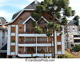 View of residence in the city of Campos do Jordao, in the hills of Mantigueira