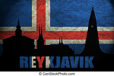View of Reykjavik on the Grunge Icelandic Flag