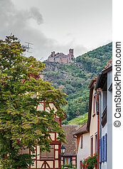 view of Ribeauville with castle, France