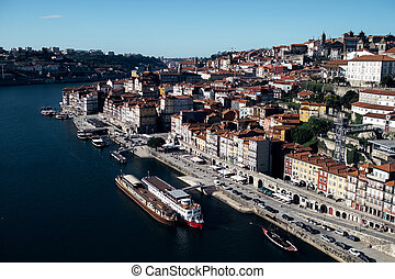 View of Ribeira from the Don Luis I Bridge in Porto, Portugal.