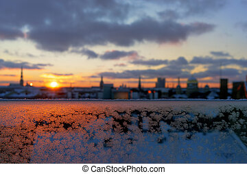 View of Riga in the winter at sunset