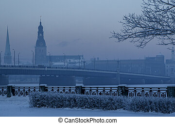 View of Riga in winter season.