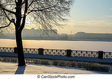 View of Riga in winter season.