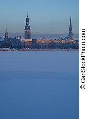 View of Riga in winter time.