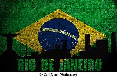 View of Rio De Janeiro on the Grunge Brazilian Flag