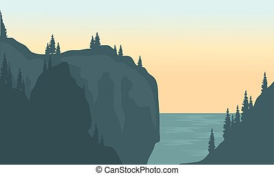 View of river and cliff silhouette