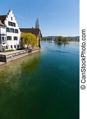 View of river in Stein am Rhein, Switzerland