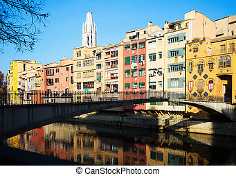 View of river Onyar at Girona in day time. Catalonia
