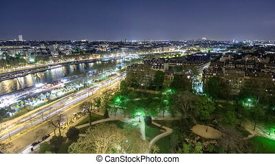 View of river Seine from the Eiffel tower night timelapse. Paris, France, Europe.