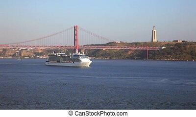 View of river Tejo and The 25 de Abril Bridge above - Big...