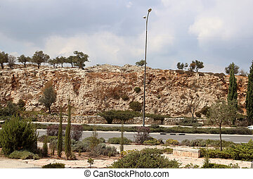 View of road with sand hills in Israel