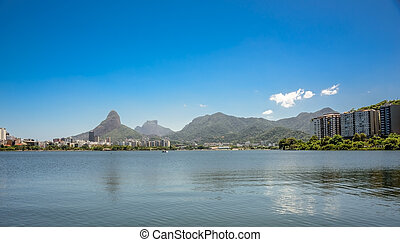 View of Rodrigo de Freitas Lagoon, Dois Irmaos Mountain and Pedra da Gavea on the background, Lagoa district