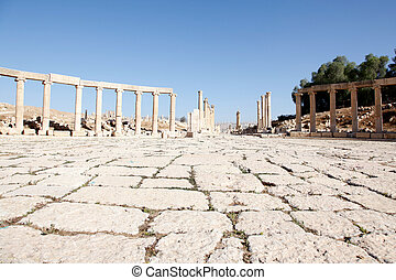 View of Roman Columns at the Oval Forum of Jerash City