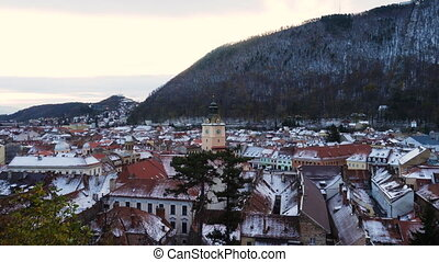 view of romanian medieval town Brasov from the viewpoint
