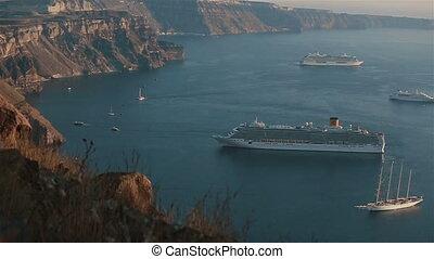 View of romantic sailboat on the Santorini island