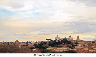 View of Rome. Panorama. Vittorio Emanuele II. Italy. Time Lapse