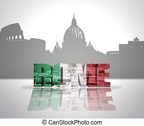 View of Rome - Word Rome with national flag of italy near...