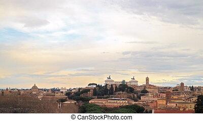 View of Rome. Vittorio Emanuele II. Italy. Time Lapse