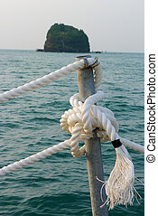View of ropes on a seaboat