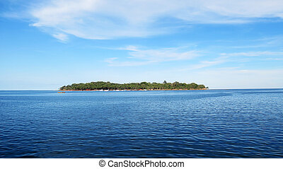 View of Ross Island from the Andaman Water Sports Complex, Port Blair, India.