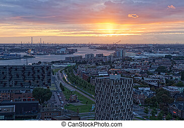 View of Rotterdam from height of bird's flight at night