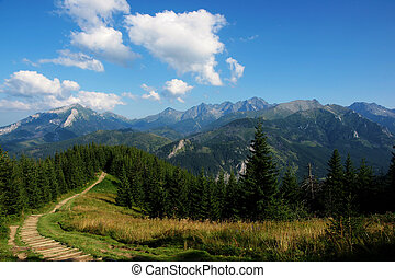 View of route to a goose neck in Polish Tatra mountains