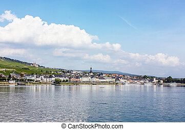view of Rudesheim, Germany - View from the Rhine to the town...