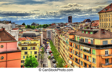 View of Rue Centrale in Lausanne - Switzerland