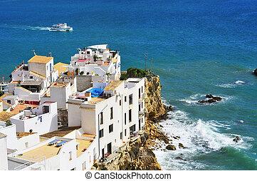 View of Sa Penya District in Ibiza Town, Balearic Islands, Spain